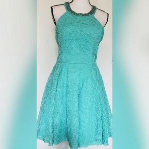 Windsor Bright Blue Formal Fit Flare Halter Dress